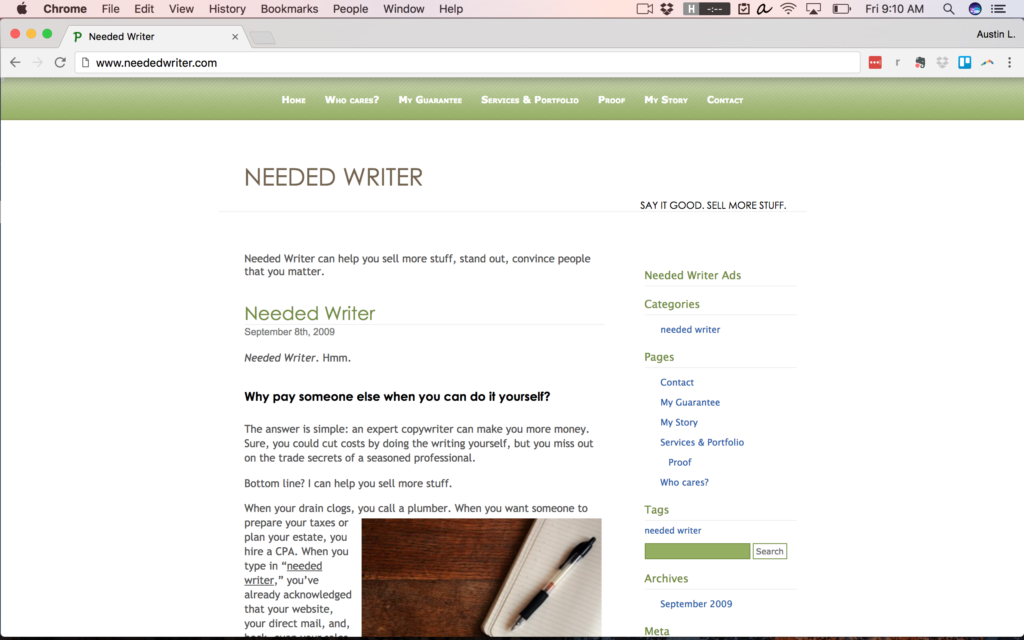 NeededWriter.com in 2009