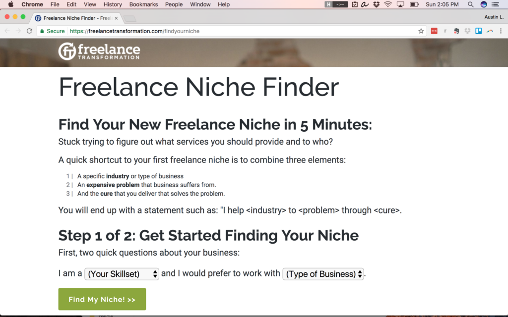 tool to help identify niche freelance jobs