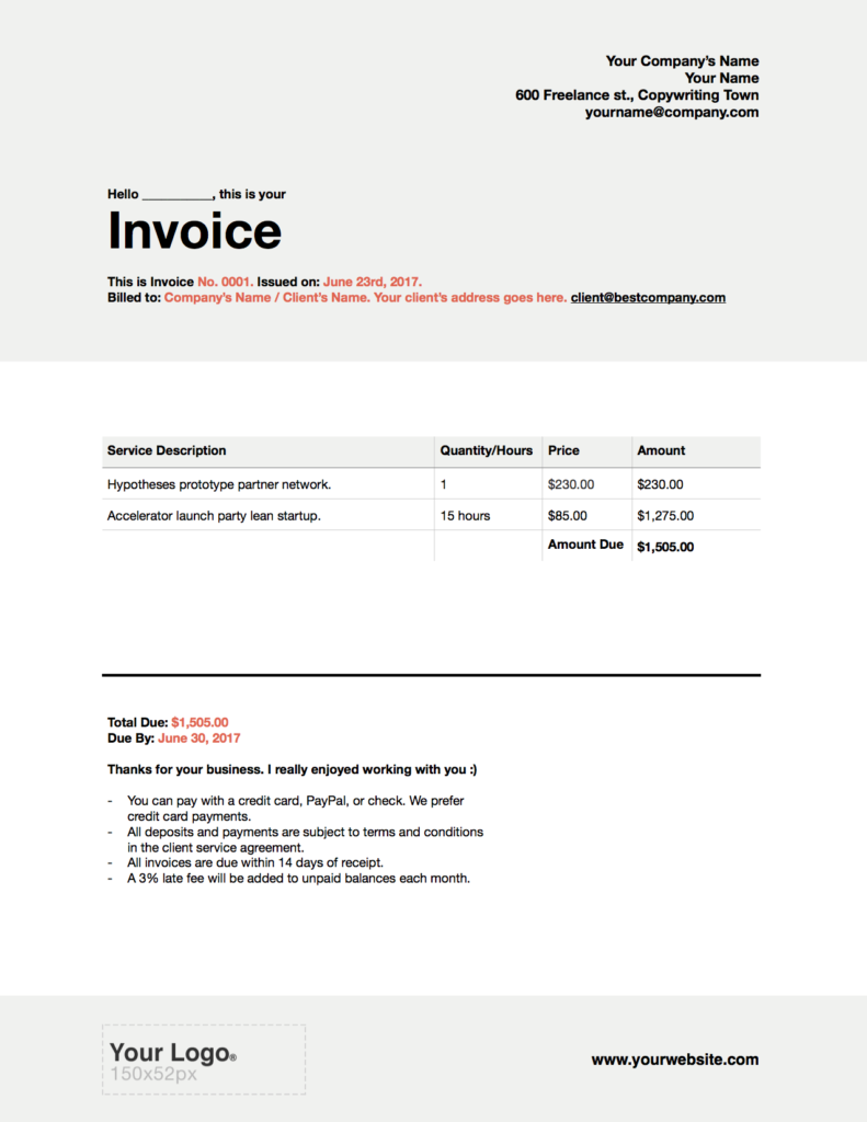 freelance writer invoices