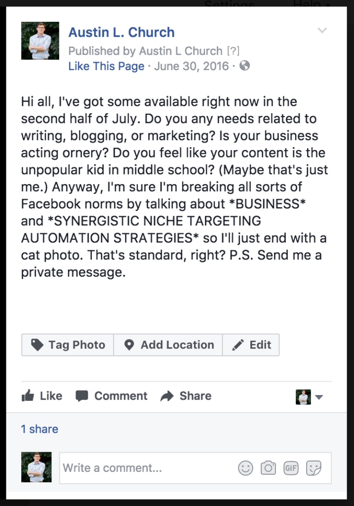 use Facebook to get freelance writing jobs