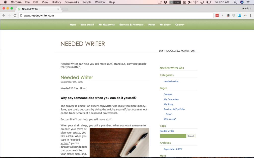 NeededWriter.com in 2009