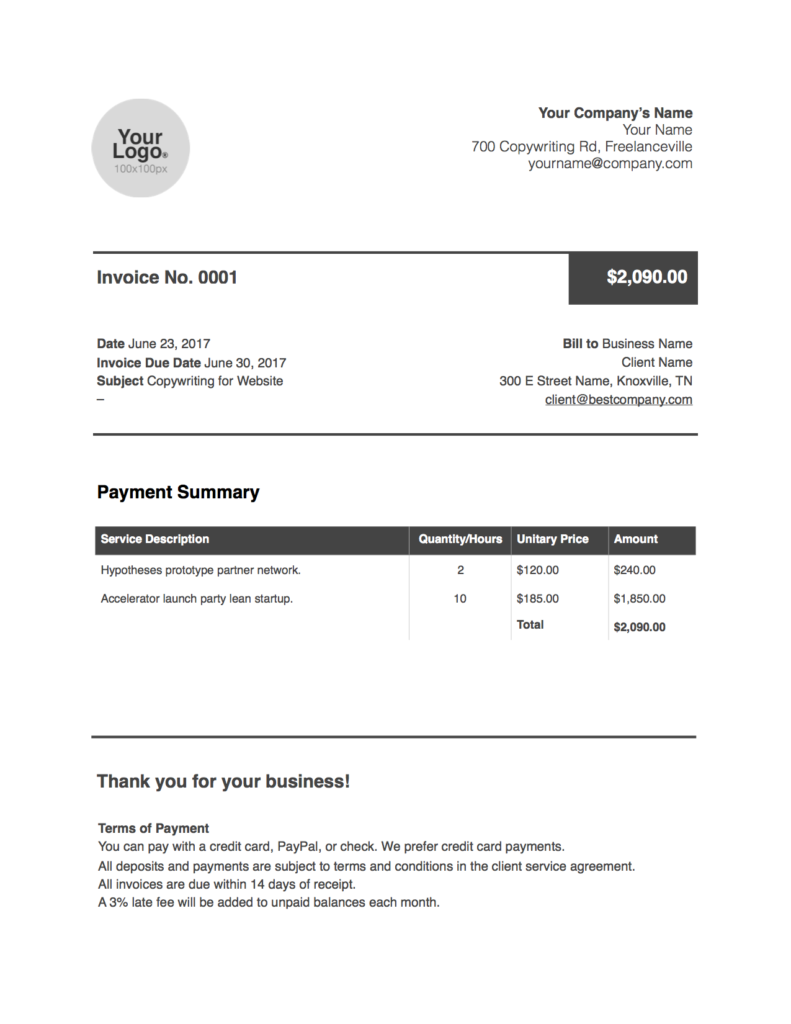 freelance writer invoice Word