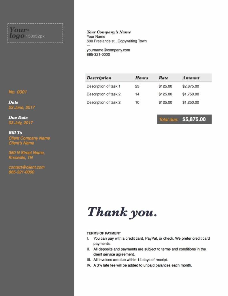 freelance writer invoice template