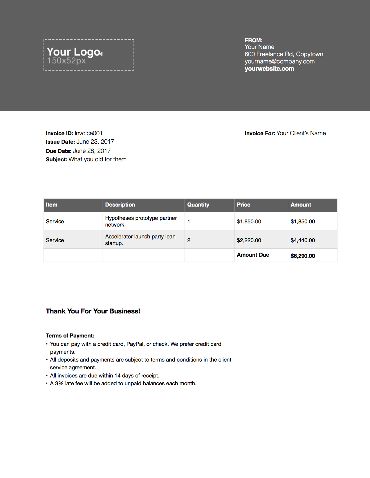 freelance writer invoice example