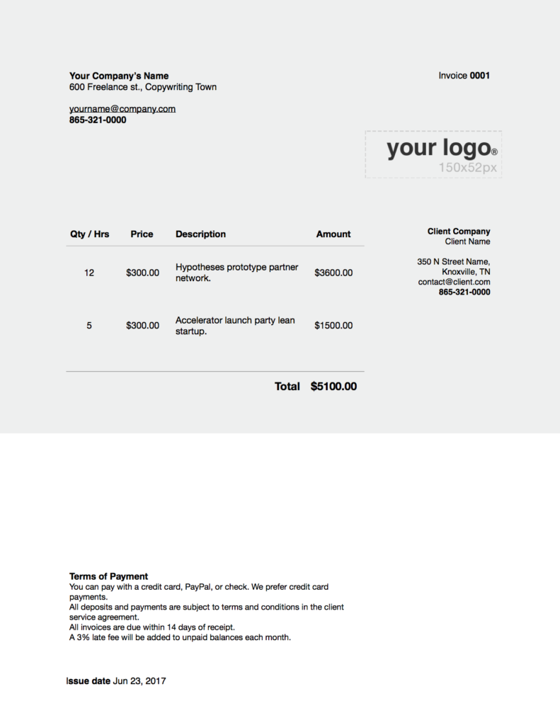 freelance writer invoices Word