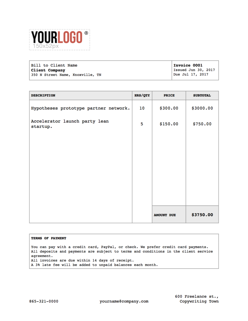 writer invoice template