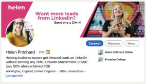 LinkedIn Title of Helen Pritchard