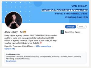 LinkedIn Title of Joey Gilkey