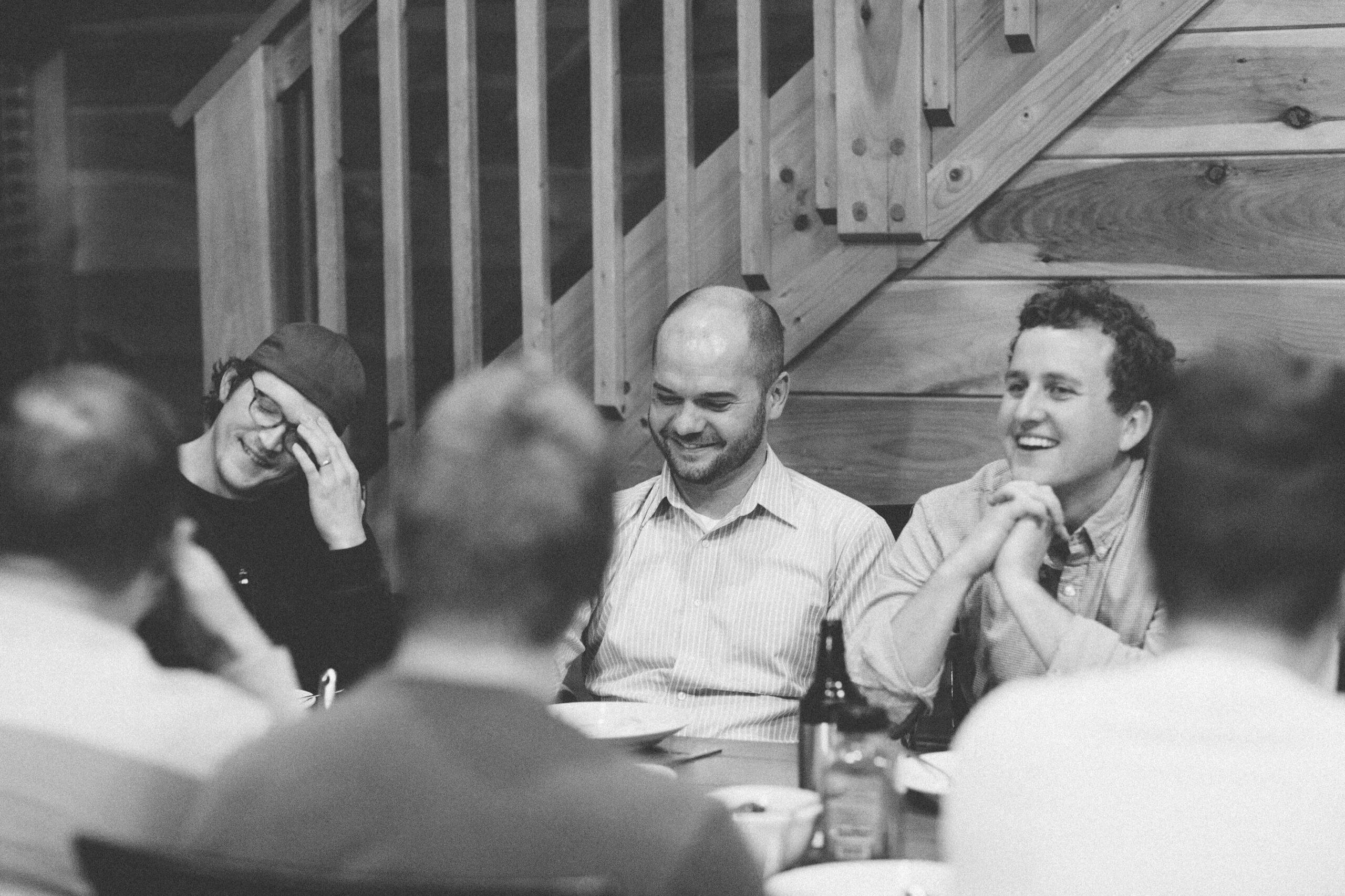 freelancers sitting at dinner table